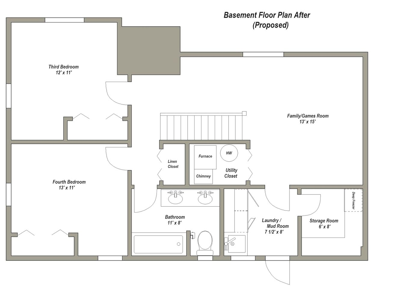 Basements Remodel Floor Plan 28x40 Basement Floor Plan After Proposed Basementplans Basement Floor Plans Basement Layout Floor Remodel