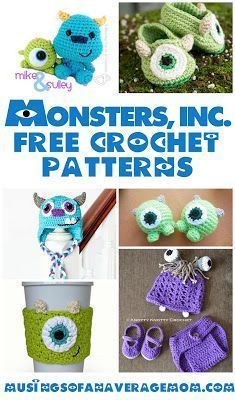 Free Monsters Inc. Crochet patterns #minioncrochetpatterns Free Monsters Inc. crochet patterns including cup cozies, beanies, tsum tsums,  baby booties and more! #minioncrochetpatterns Free Monsters Inc. Crochet patterns #minioncrochetpatterns Free Monsters Inc. crochet patterns including cup cozies, beanies, tsum tsums,  baby booties and more! #minioncrochetpatterns