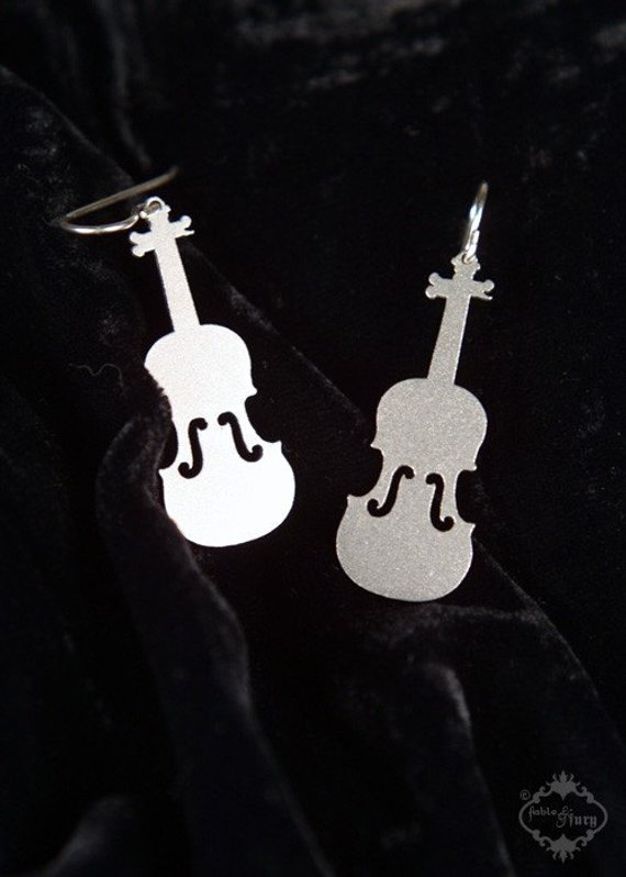 Violin earrings in silver stainless steel, violin fiddle earrings, music gift for her