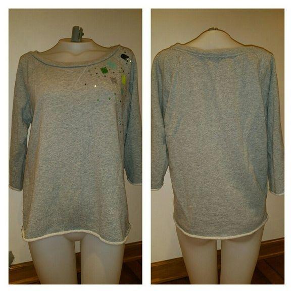 Gap 3/4 Sleeve Crew Neck Sweatshirt Great condition Size medium Sequin detail 100% cotton GAP Sweaters Crew & Scoop Necks