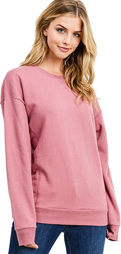 esstive Womens Basic Ultra Soft Fleece Solid Crew Neck Sweatshirt