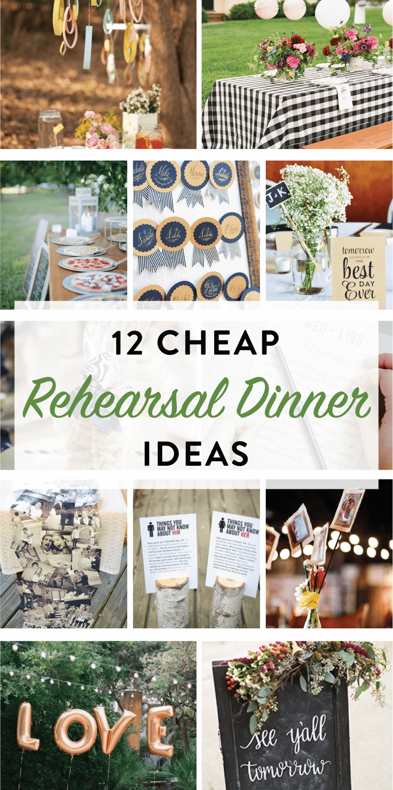 12 Cheap Rehearsal Dinner Ideas Wedding Rehearsal Dinner
