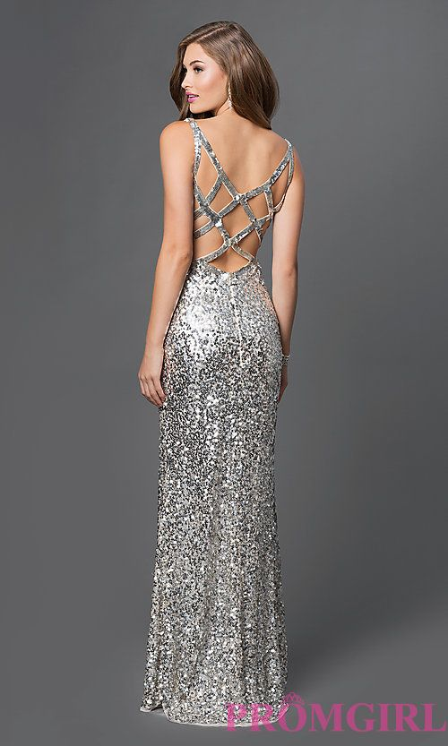 V-Neck Long Fully Sequined Open Back Prom Dress | Prom | Pinterest