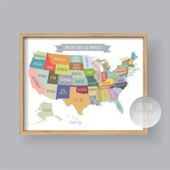 United States Map Wall Art, PRINTABLE United States Map ...