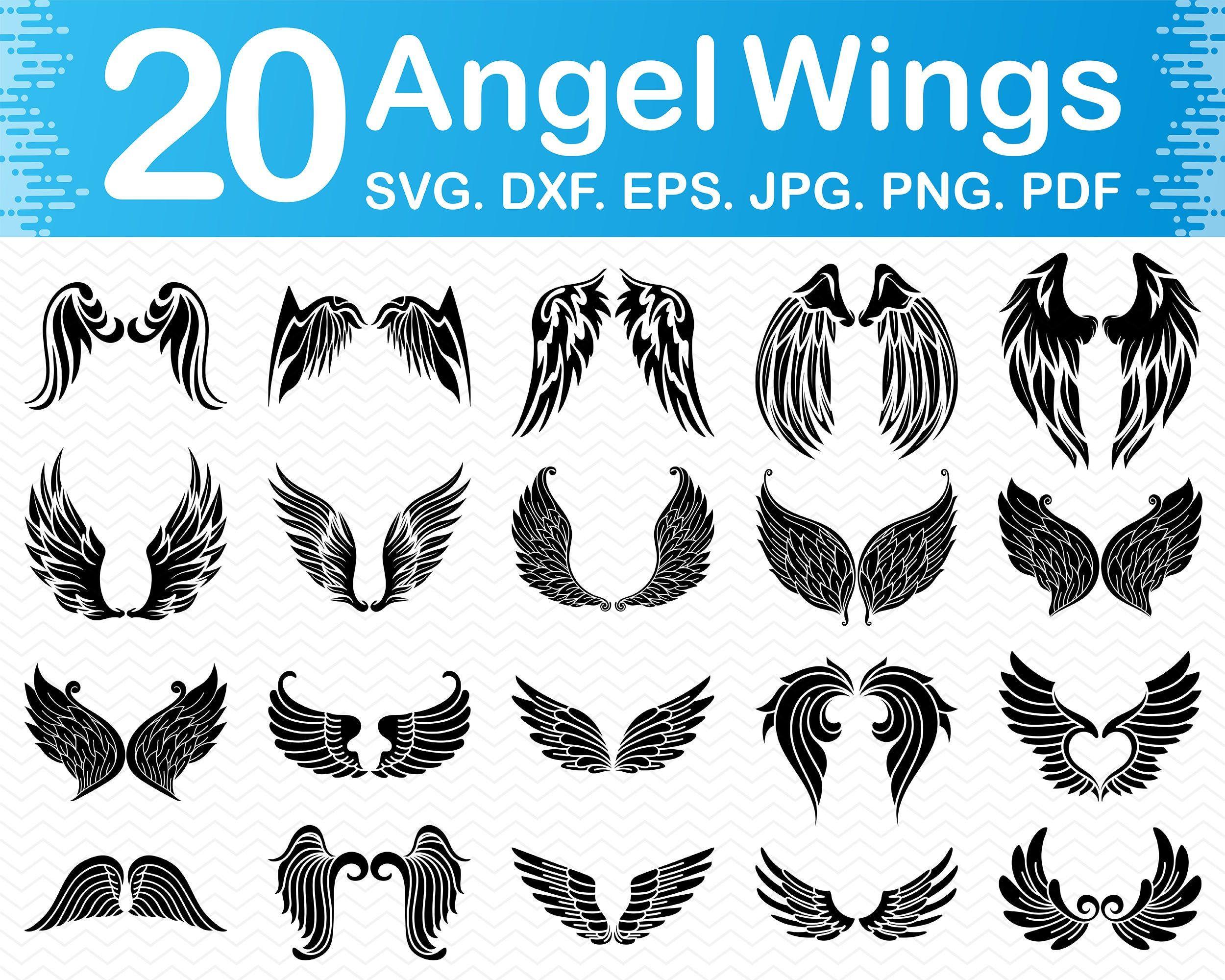 Wings Clipart Wings SVG Angel Wings Printable Art Vector Clip Art Silhouette Cut Files Angel SVG Svg Files For Cricut Angel Wings SVG