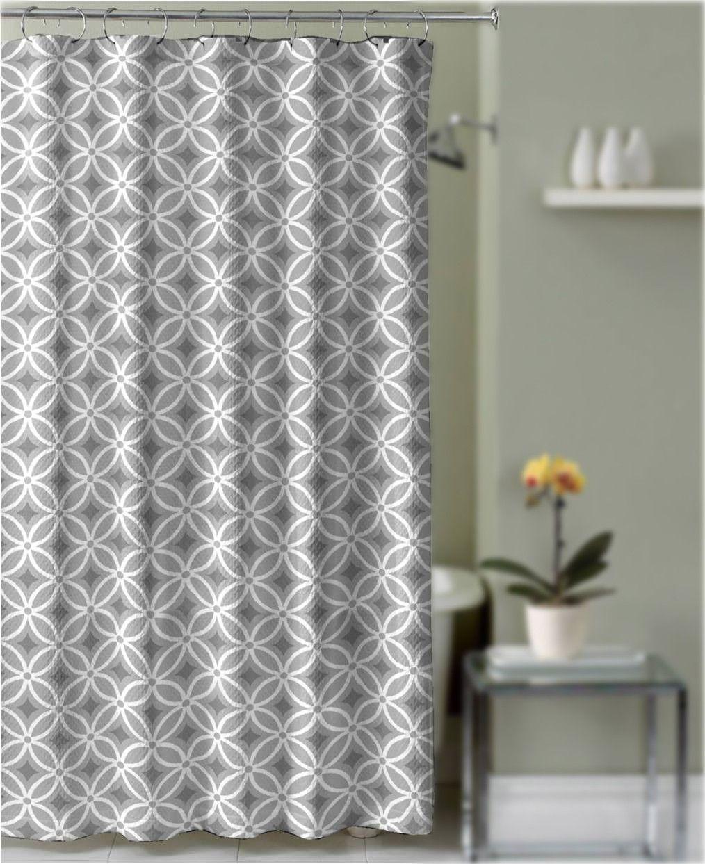 Crest Home Linda Shower Curtain Gray Geometric Trellis Fabric