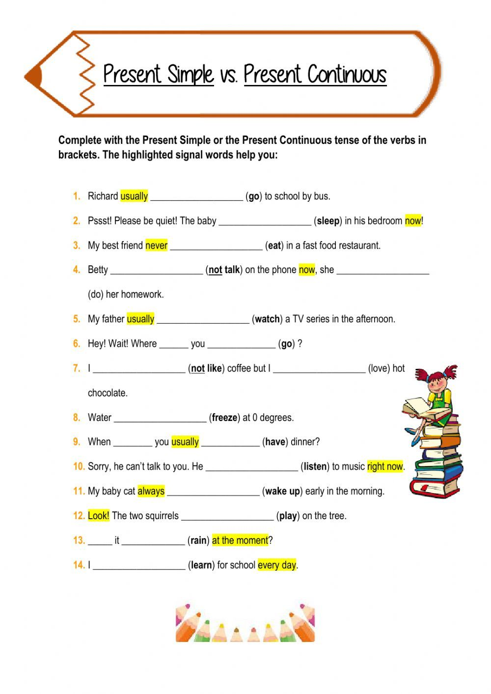 Present Simple vs. Present Continuous - Interactive worksheet   English  grammar worksheets [ 1413 x 1000 Pixel ]