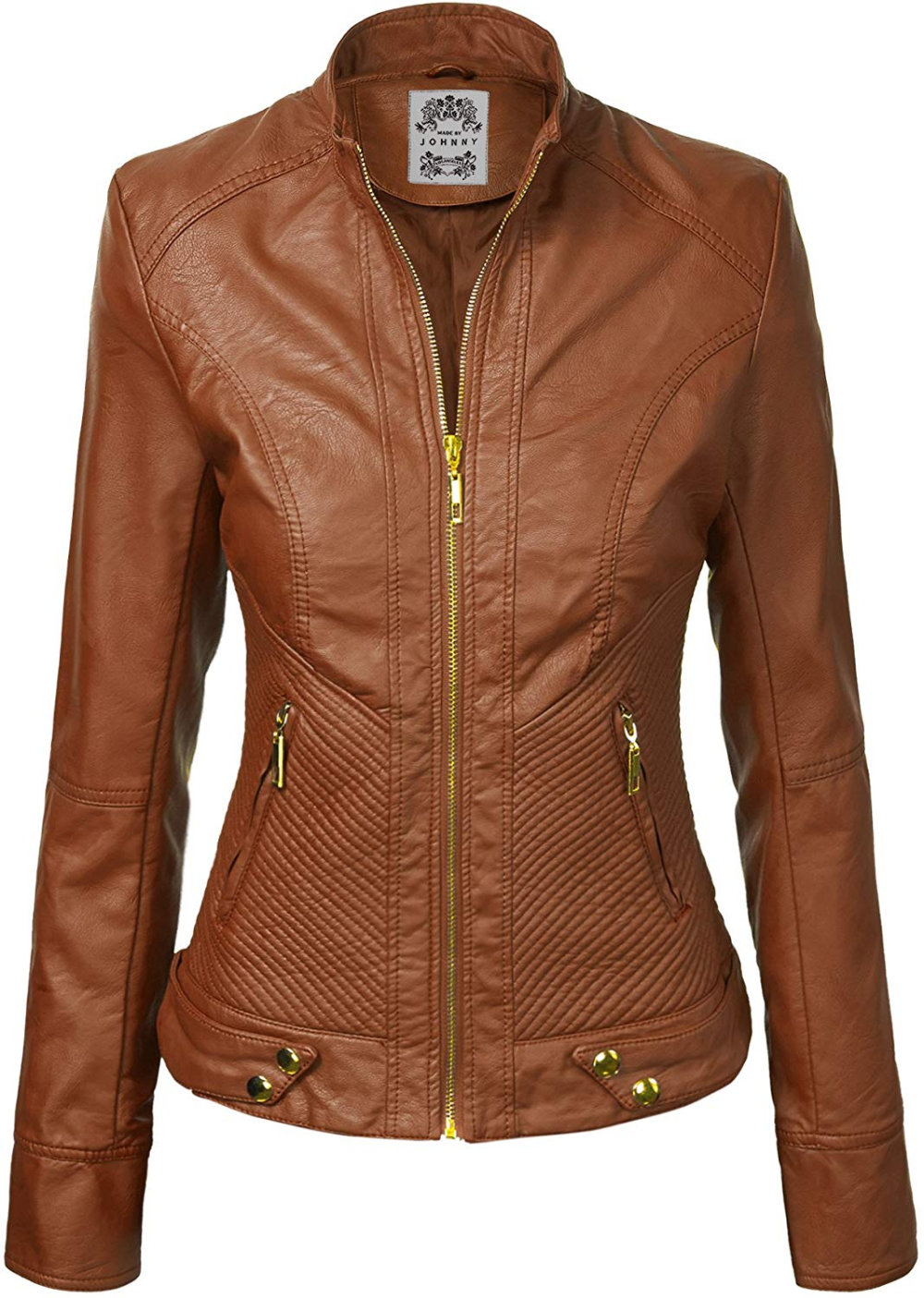 Made By Johnny MBJ Womens Faux Leather Zip Up Moto Biker