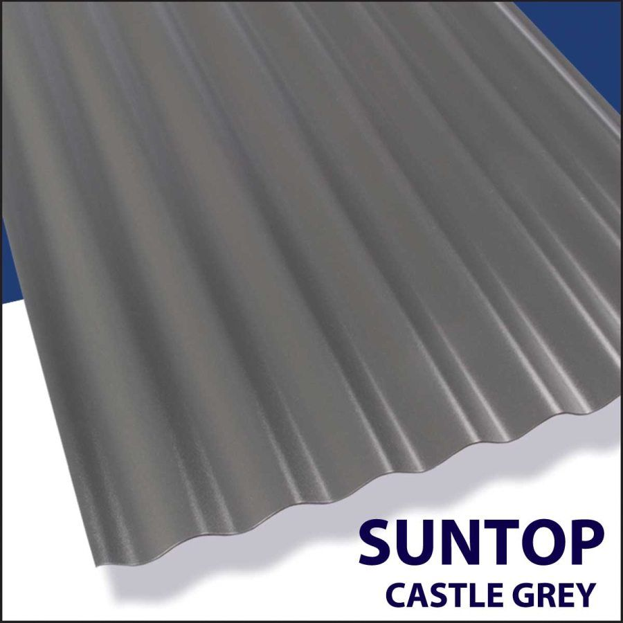 Palram Americas 108975 Suntop Panel 12 Ft X26 Castle Grey At Sutherlands Corrugated Metal Roof Corrugated Roofing Corrugated Metal Siding