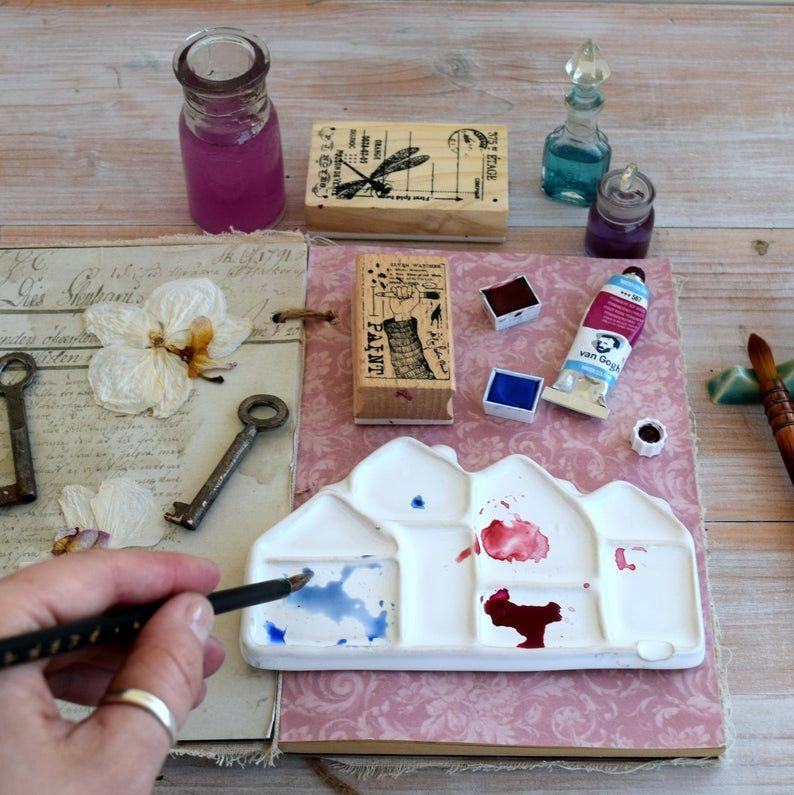 Palette En Ceramique Aquarelle Quarter Palette De Melange Pour