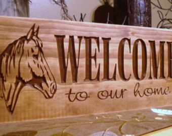 rustic western inspired carved wooden welcome to our home sign rustic horse farm ranch design best - Wood Sign Design Ideas