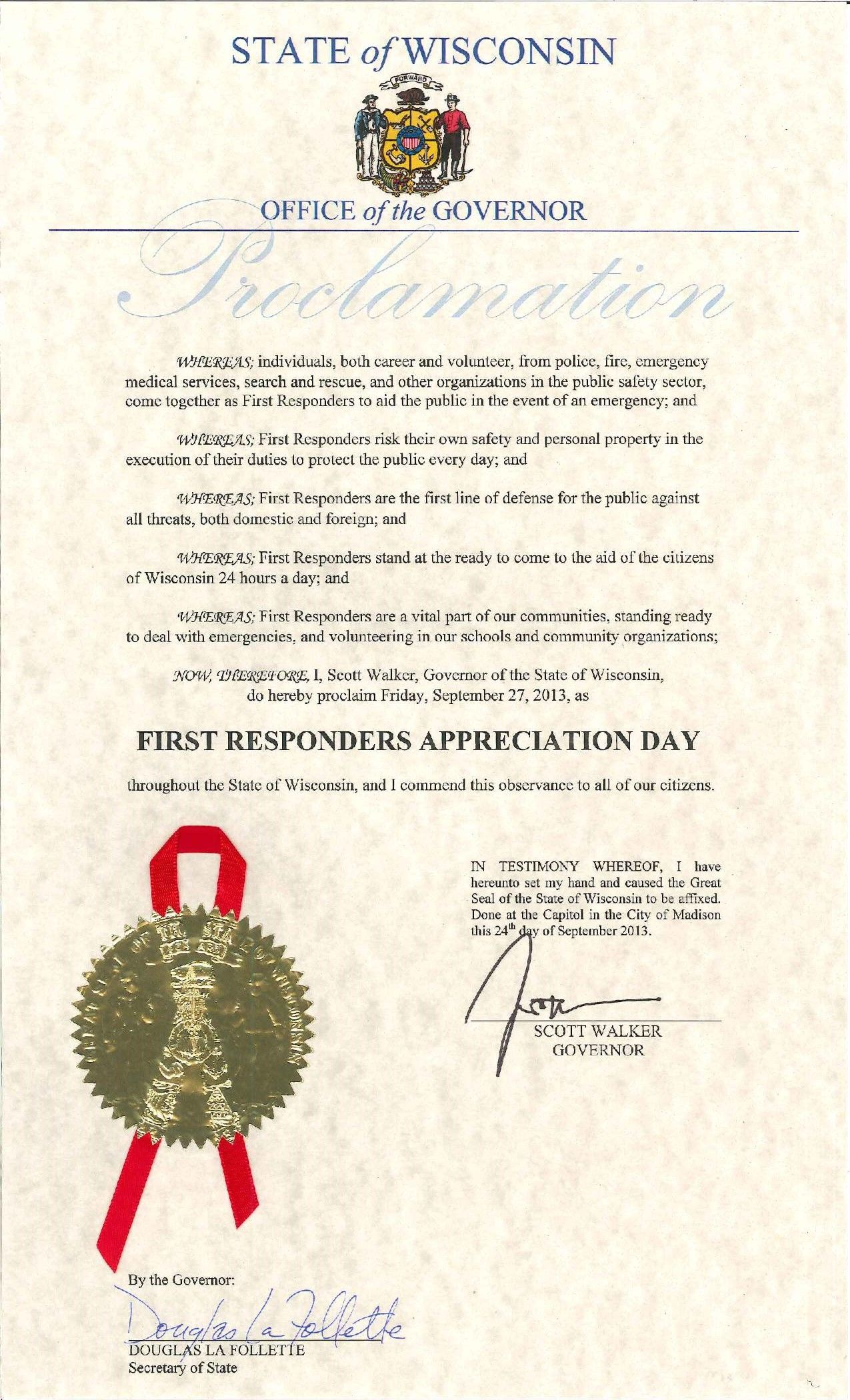 State of Wisconsin 2013 proclamation of September 27 as