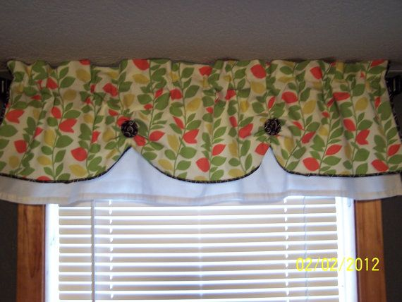 Valance Curtain Swag Swagged Custom Made Designer Fabric Bathroom Kitchen White Black Green And Peach Diy