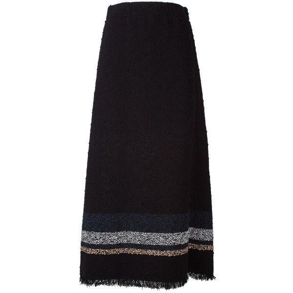 Sonia Rykiel  Striped Bouclé-Tweed Skirt ($715) ❤ liked on Polyvore featuring skirts, nero, boucle skirt, sonia rykiel skirt, stripe skirt, sonia rykiel and elastic waist skirt