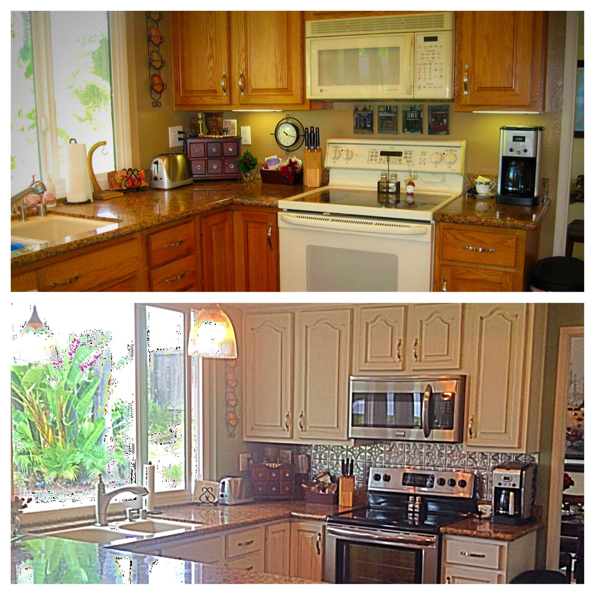 Kitchen DIY Remodel. Painted Oak Cabinets Off White And