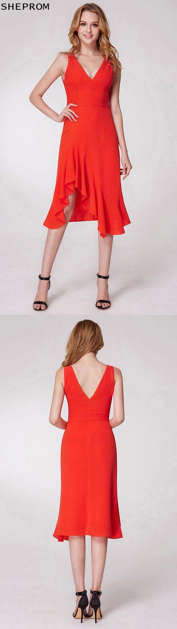 Hi low orange v neck prom dress in knee length epor