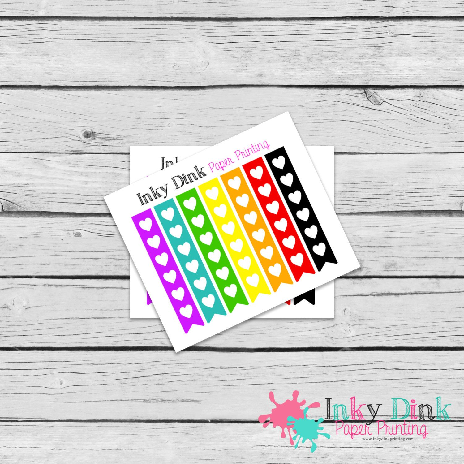 New To Inkydinkprinting On Etsy  Heart Rainbow Checklist Sample