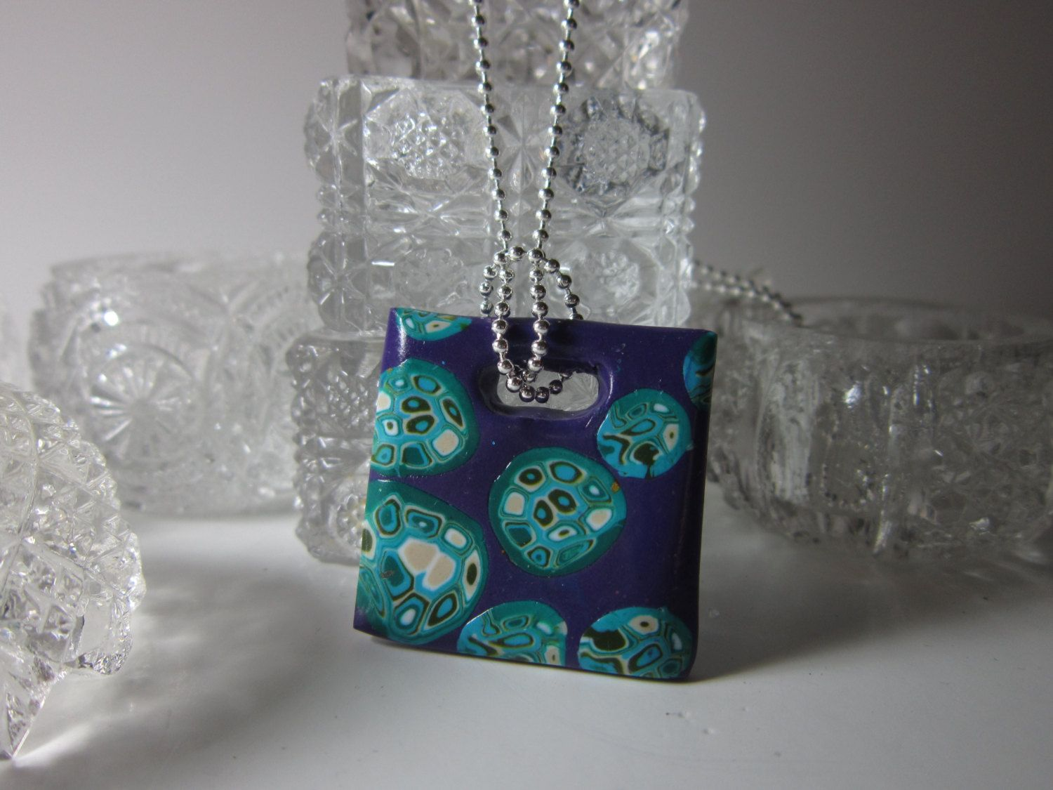 Plum Square Pendant with Turquise and Olive Green by PohdDesign, $15.00