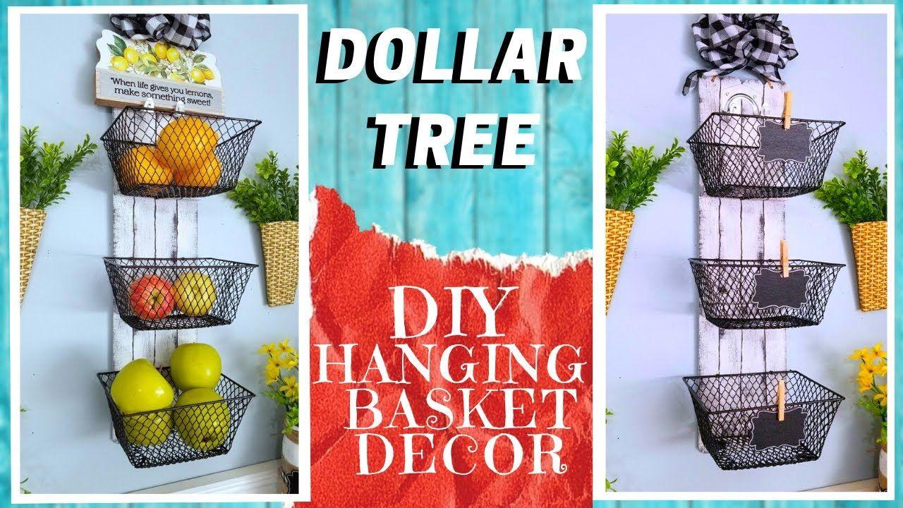 Diy Dollar Tree 3 Basket Hanging Shelf Decor How To Make A Farmhouse Rustic Metal Wood Look Deco Youtube In 2020 Hanging Shelf Decor Dollar Tree Diy Shelf Decor