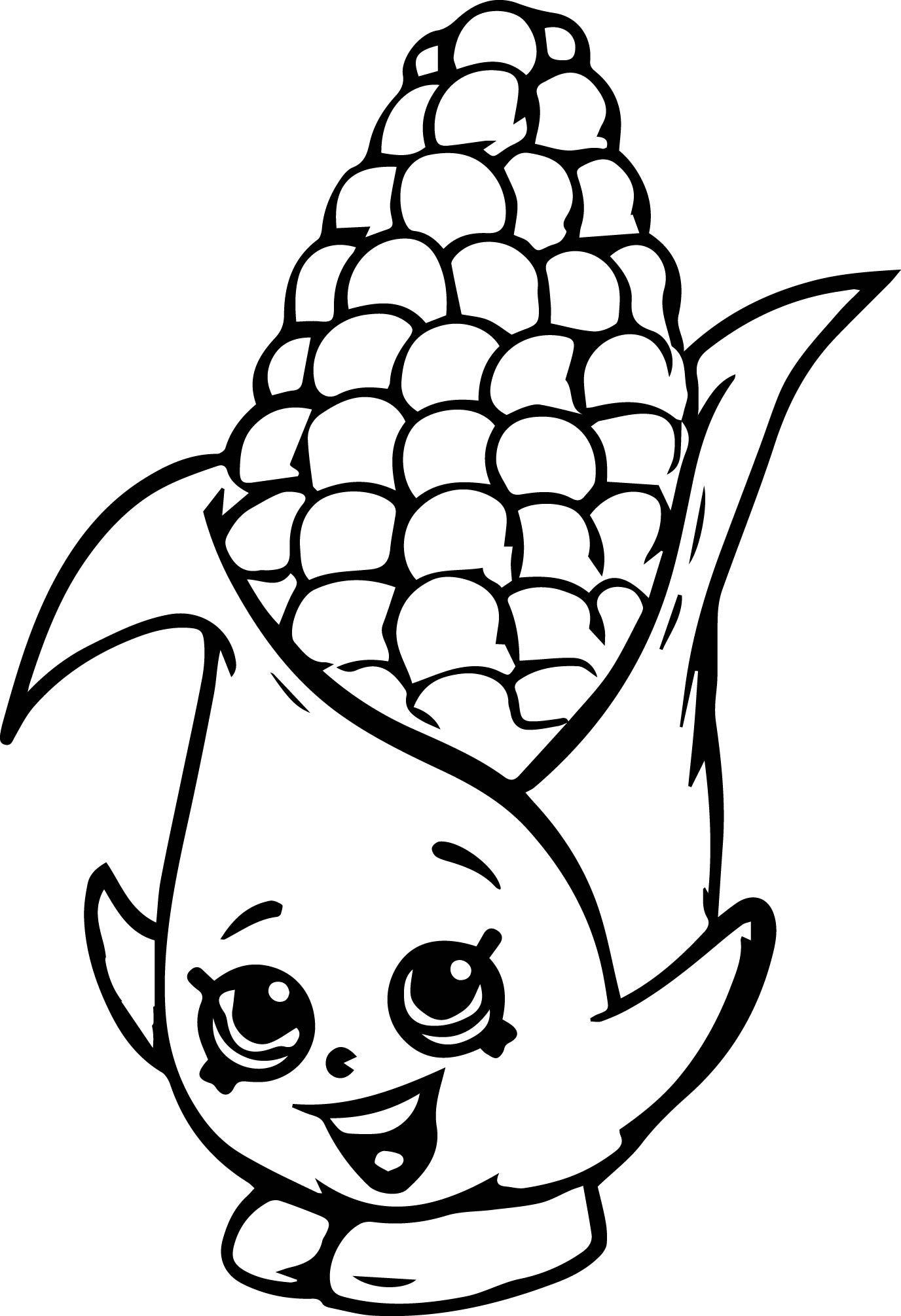 awesome Corny Cob Coloring Page Shopkin coloring pages