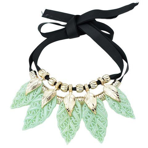 Sweet Colored Leaf Sweater Chain Necklace For Women