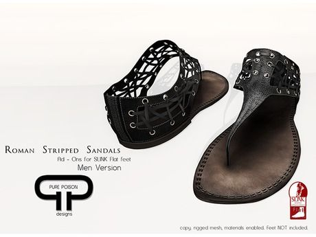 Second Life Marketplace - Pure Poison - Roman Striped Sandals - Men - Slink Flat Feet Ad-ons