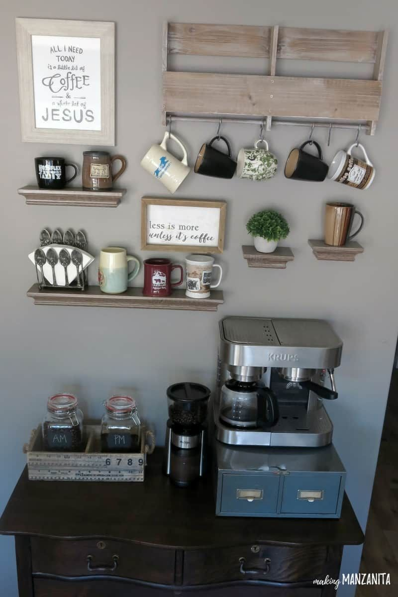 15 Coffee Bar Stations To Make Your Kitchen A Barista S Dream In 2020 Coffee Bar Station Diy Coffee Station Coffee Bars In Kitchen