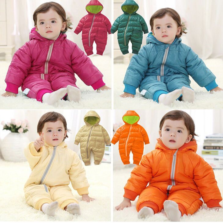 49a31d5f4 Baby Kids Toddler Boy Girl Winter Padded Romper Jumpsuit Outfit ...