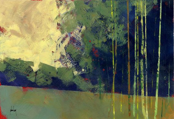 Originalbild Wald-Baum halb abstrakt 13 x 9 Zoll - neues Holz