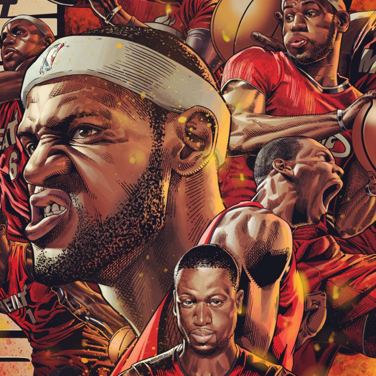 Miami Heat Big Three Illustration Hooped Up Lebron James Wallpapers Miami Heat Basketball Art