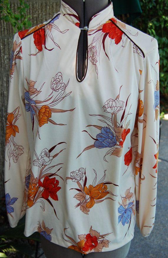 ON SALE Vintage Caribou Oriental Flowered Blouse by khloeyskloset, $15.00