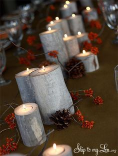 Do it yourself pinterest table decorations logs and decoration diy tablescape idea log luminaries with tea lights make a stunning table decoration with this simple tutorial diy tablescape luminary solutioingenieria Images