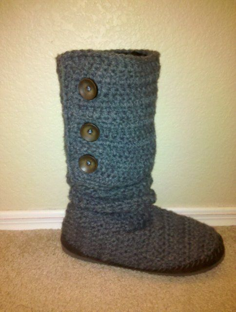 free crochet boot patterns for adults | BOOT SLIPPER PATTERN - FREE ...