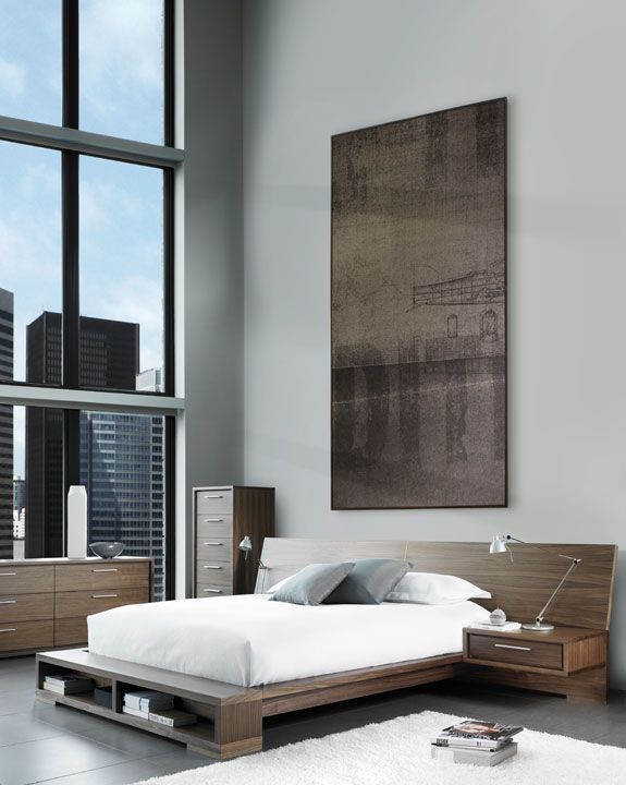 sonoma modern wood bedroom collection by mobican furniture floating drawers can be mounted directly on the wide headboard optional storage bookshelf on amisco bridge bed 12371 furniture bedroom urban
