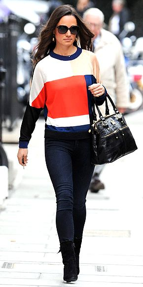 6b61537bc48 ... Kate Bosworth: Star Style for Less. PIPPA MIDDLETON ondrian-esque Paper  London sweater worn with slim Goldsign jeans and a croc-embossed bag.