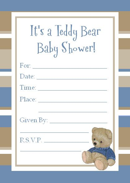 Now Free Template Teddy Bear Baby Shower Invitations