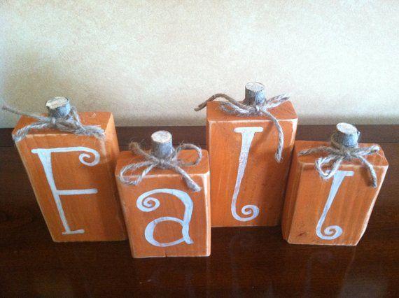 Wood Fall Pumpkin Block set - Seasonal Home Decor for fall, halloween, and thanksgiving decorating images