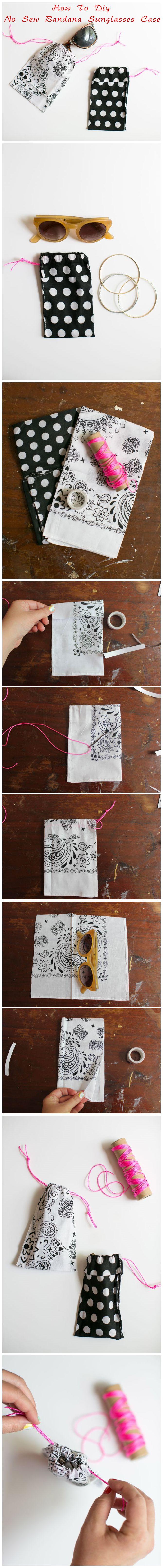 how to #diy no sew bandana #sunglasses #case | how #diy #crafts