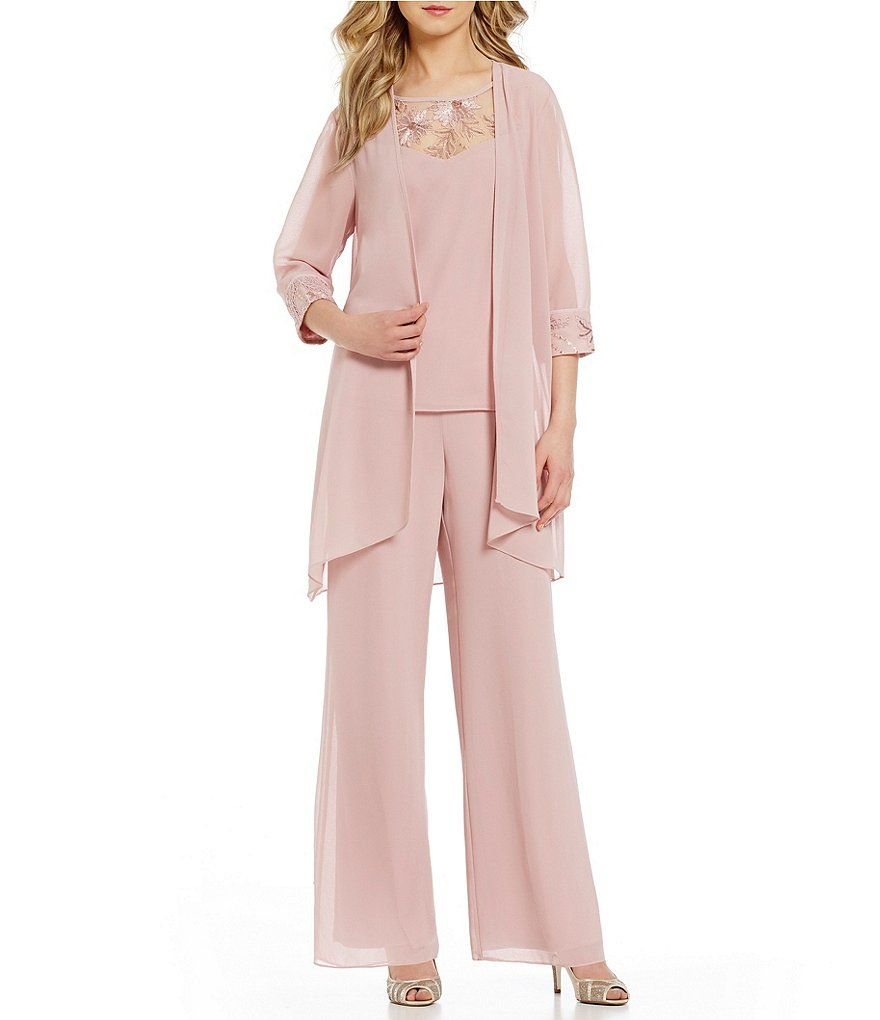 173b751bf82 Le Bos Embroidered Chiffon 3-Piece Pant Set in 2019