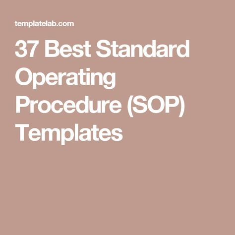 37 Best Standard Operating Procedure (SOP) Templates WORK