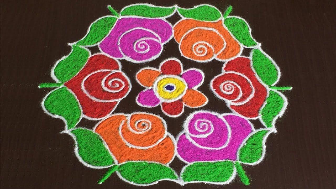 Beautiful Rose Flowers Rangoli Designs For Sankranti With 13 To 7 Colorful Rangoli Designs Rangoli Border Designs Rangoli Designs