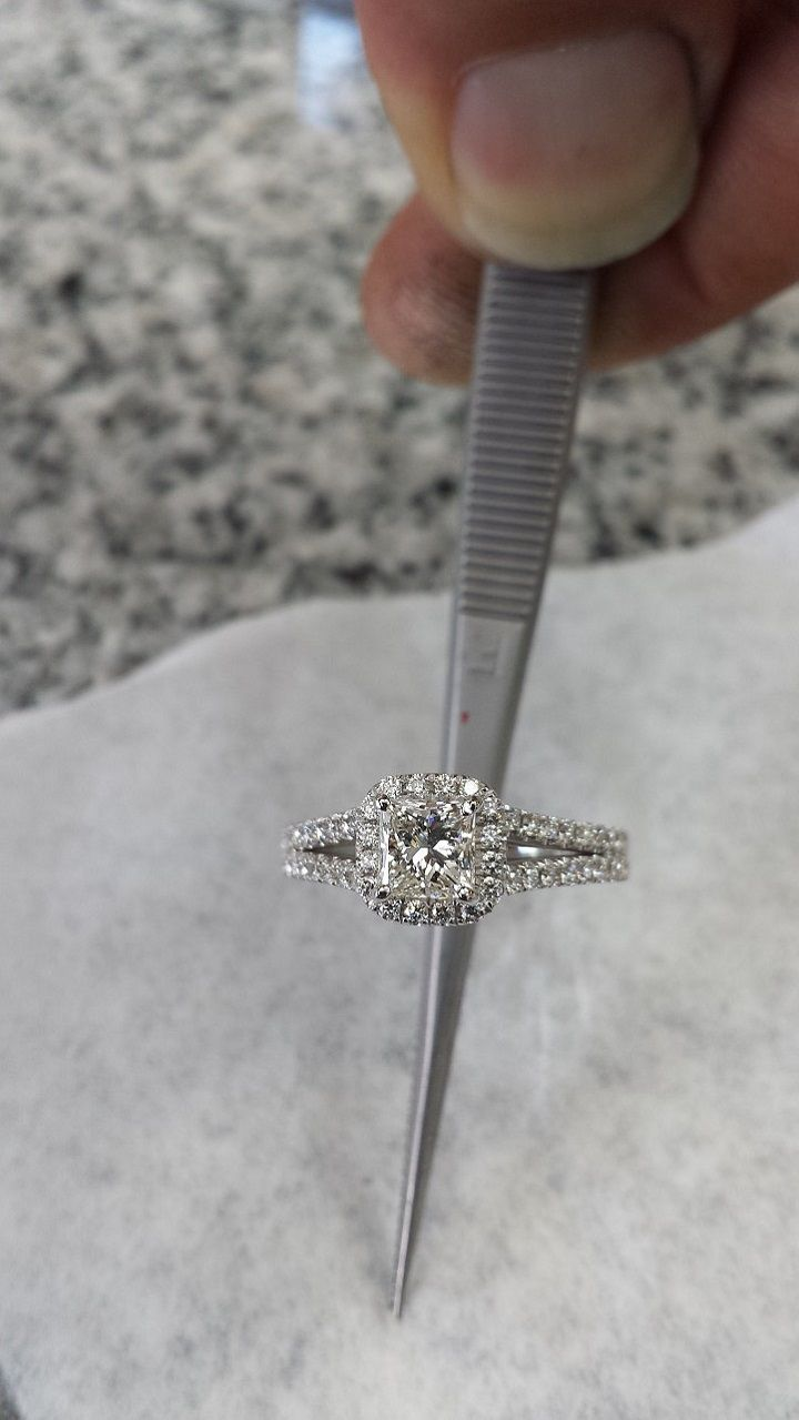 1.50 Carat Princess & Round Brilliant Cut Diamond Halo Anniversary Engagement Ring in 14k White Gold