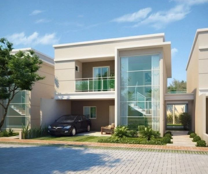 Fachadas de casas modernas con cocheras abiertas - Casas con chimeneas modernas ...