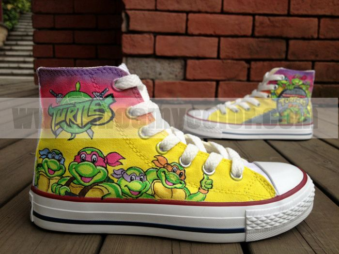 094ba2c77271 Teenage Mutant Ninja Turtles Kids Shoes Hand Painted High Top Cartoon  Canvas Shoes