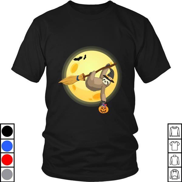Teeecho Funny Sloth On Witches Broom Halloween 454 T-Shirt, Sweatshirt, Hoodie for Men & Women