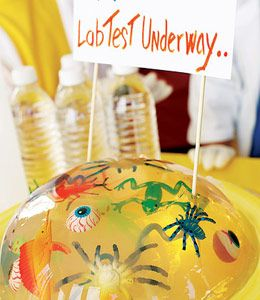 For your next mad scientist's blast, create a freakily fun (but not edible!) centerpiece by suspending plastic toys -- critters, doll parts, and any other weird bits and pieces you've got lying around -- in clear gelatin.