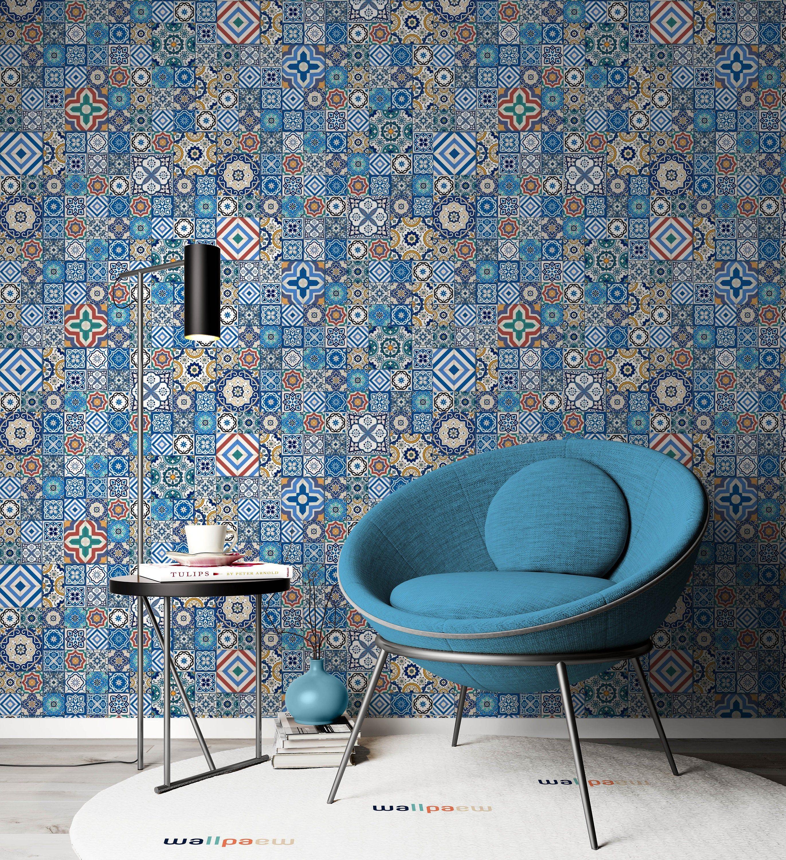 Arab Motif Blue Square Design Wallpaper Self Adhesive Peel And Etsy Home Decor Wall Art Square Design Wallpaper Bedroom