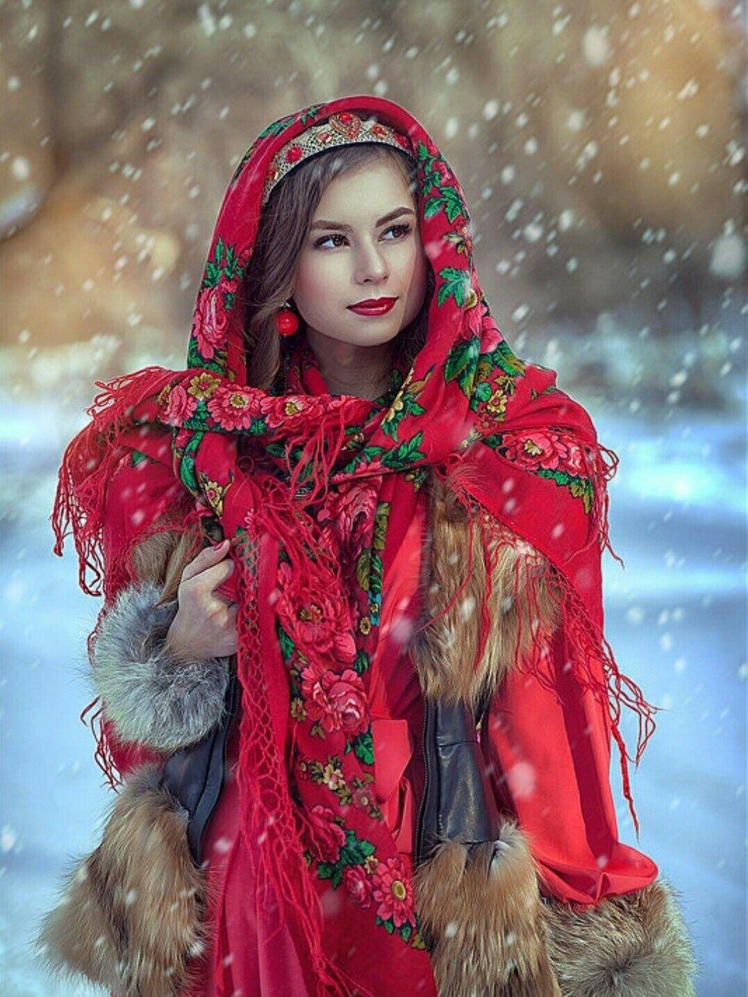 Украинский народный образ для зимней фотосессии вам успехов