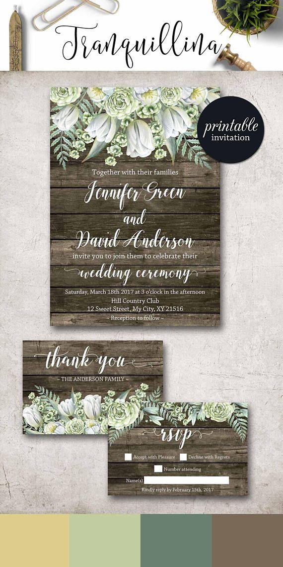 Rustic Wedding Invitation Printable Floral Wedding Invite Botanical ...