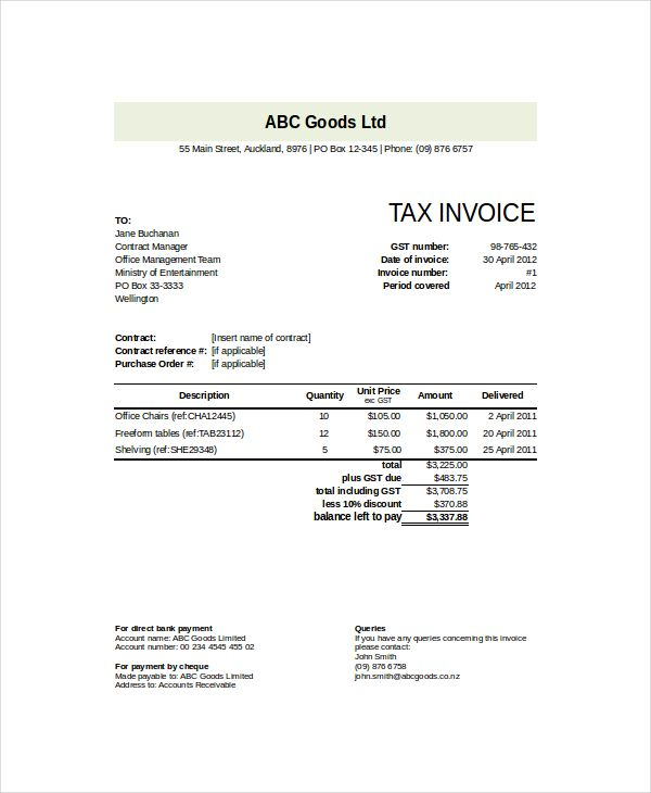 Goods Invoice Template , Invoice Template NZ for Tax Invoicing - free tax invoice